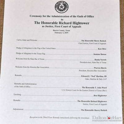 Justice Richard Hightower Investiture Ceremony, First Court Of Appeals Courtroom & Reception Follows  <br><small>Feb. 1, 2019</small>
