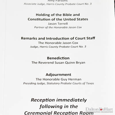 Judge Jason Cox, Harris County Probate Court #3 - Investiture & Celebration  <br><small>Feb. 28, 2019</small>